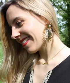 Boucles d'oreilles dorées en laiton Palmier