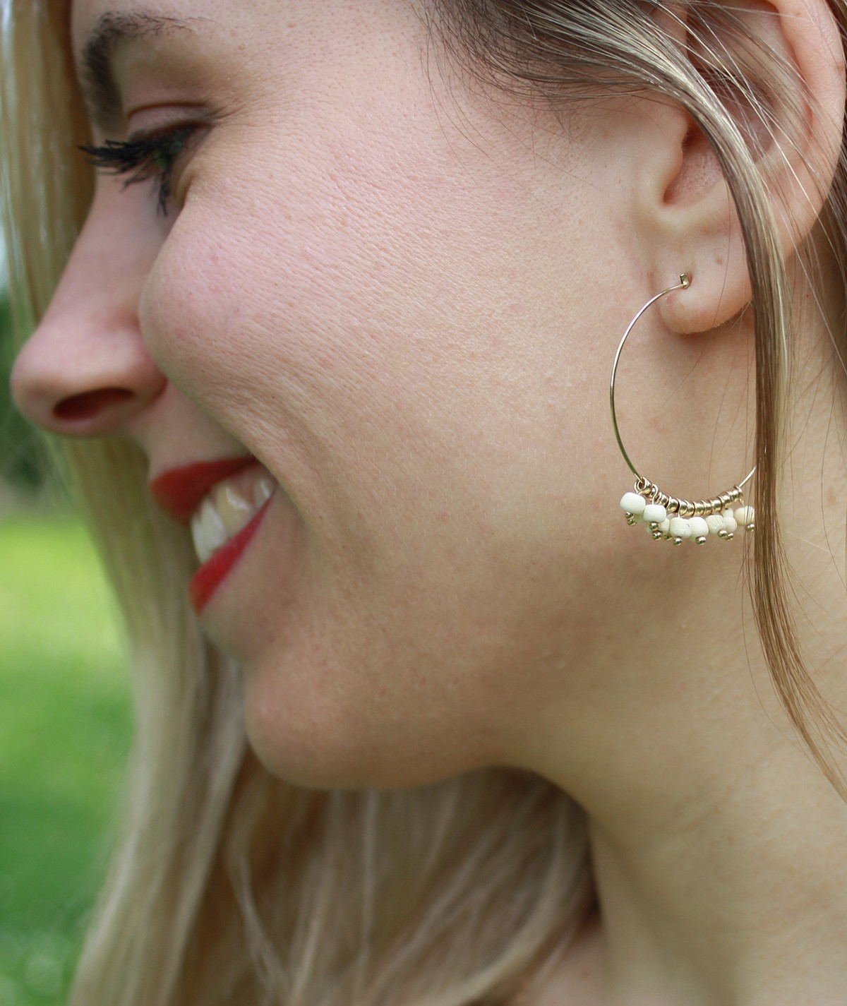 Boucles d'oreilles fantaisie en laiton Perles