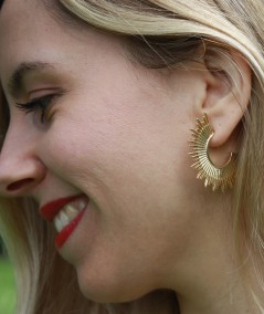 Boucles d'oreilles Soleil en laiton doré