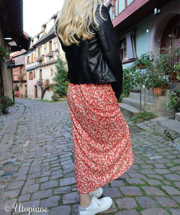 Jupe longue en polyester rouge
