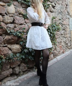Robe blanche Cyrille Broderie 100% coton et doublure