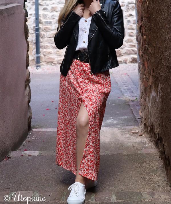 Jupe longue en polyester rouge femme