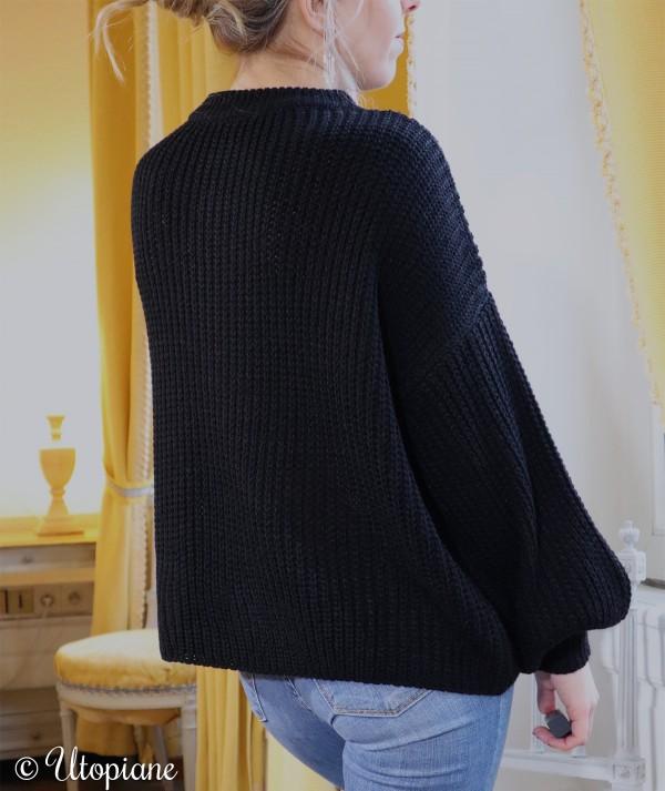 Pull Raphaël noir maille sans laine
