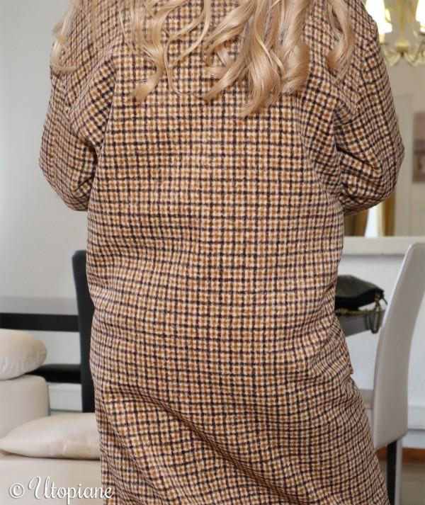 Manteau long à carreaux Émilien beige marron camel