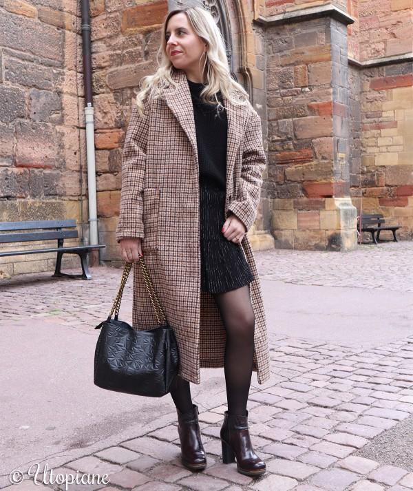 Manteau long à carreaux Émilien beige marron