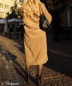 Manteau long à carreaux Émilien sans matière animale