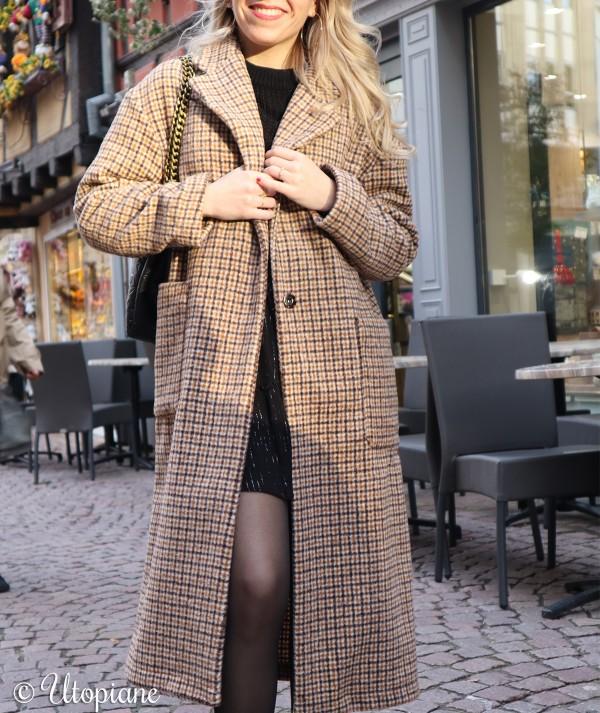Manteau long à carreaux Émilien
