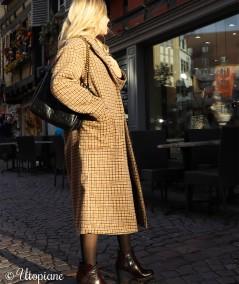 Manteau long à carreaux Émilien sans laine
