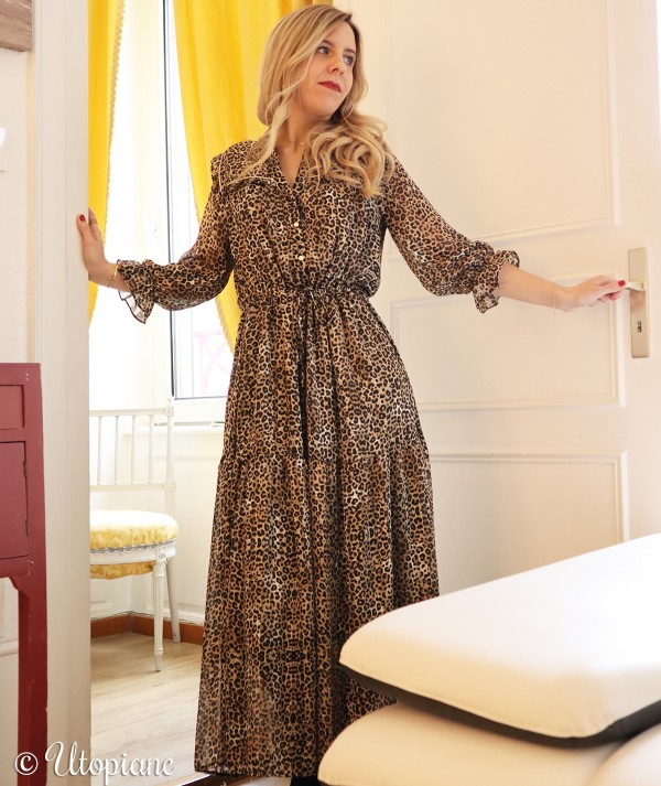 Robe longue Roxane leopard vegan sans matière animale