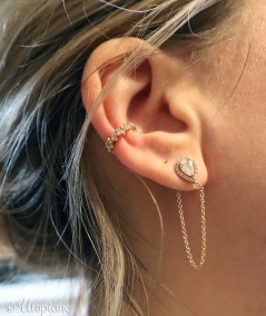 Boucles d'oreilles et clip en plaqué or. Idée cadeau bijou.