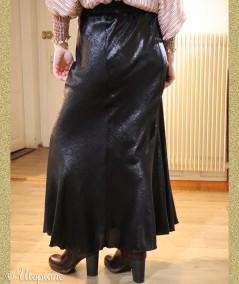 Jupe longue noire Timéo en polyester, idéale pour les fêtes
