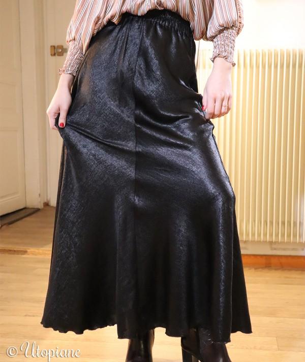 Jupe longue noire Timéo en polyester
