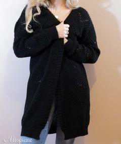Gilet Naël long noir et vegan femme doux et confortable