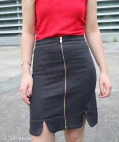 Jupe en jean noire femme coupe originale made in France fabriquée en Alsace