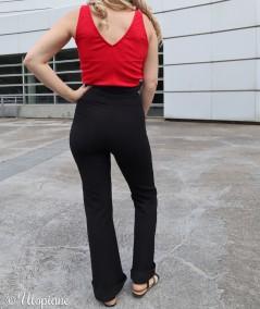 Pantalon noir femme Dànes tissu ultra confortable, épouse votre morphologie