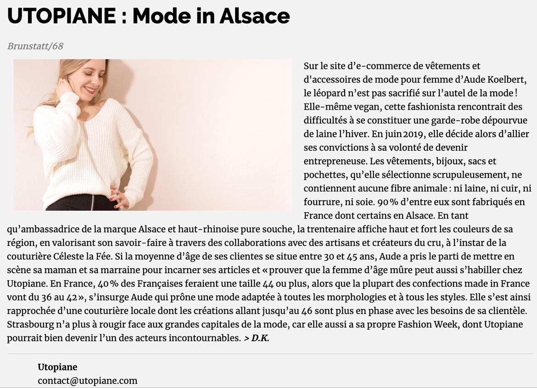 Mode in Alsace : À propos d'Utopiane